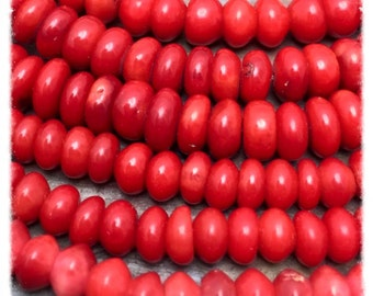 Red Coral 3x6mm Gemstone Rondelle Beads, 7.5 inch strand