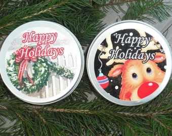 Holiday Lotion / Hand & Body Lotion / YOUR CHOICE of Scent / 2 oz or 4 oz / Holiday Labeled Tin Lid Containers