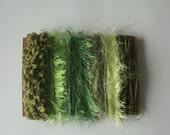 ice yarns samples fiber art bundle cards GREEN SHADES jungle eyelash boucleron volute ribbon fun fur crochet knitting scrapbooking supplies