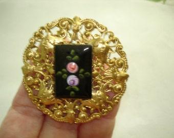 Guilloche  Enamel Flower  Brooch