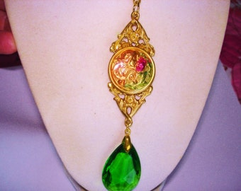 Vintage Jewelry Lady Smelling Flowers Green Crystal Pendant Gold Tone Pendant