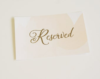 Reserved Sign, Table Sign, Table Number, Watercolor Wedding Sign, Gold Foil, Blush Wedding Sign, Peach Wedding Sign, Blush Sign