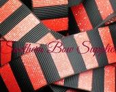 NEW ITEM----7/8 inch wide Grosgrain Ribbon----5 Yards----Red and Black Glitter Stripe Ribbon----USA Designer