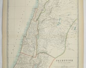 Antique Map Palestine, Holy Land Map 1905 Johnston Palestine Map, Israel Syria Map Lebanon, Middle East Map, Unique Wedding Gift for Couple