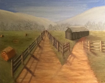 Farm paintings, Original art print, Landscape art, Old Barn Paintings, Farm landscapes, Backroad Paintings