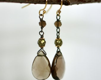 Smoky Quartz, Pyrite, Sterling Silver and Gold Fill Dangle Earrings