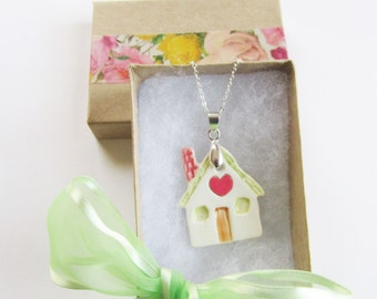 Home Sweet Home Necklace, Ceramic House Pendant, Porcelain House Necklace, Realtor Necklace, New Home Gift, House Warming Gift