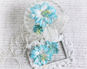 Blue Mulberry Geums Set of 4 with White Leaves for Scrapbooking, Cardmaking, Altered Art, Wedding, Mini Album