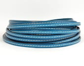 Stitched Leather - 5mm Flat - Turquoise - 5FS-6 - Choose Your Length