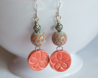 Peach Flower Earrings, Ceramic Earrings, Lampwork Earrings, Dangle Earrings, Spotted Earrings, Cottage Chic