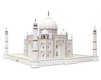 Taj Mahal, assembled full color paper model in 1/400 scale, 20 cm or 8 inches high miniature