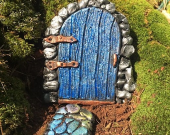 Blue Fairy Door with glitter, Garden Fairy Door,  Fairy Door Village,