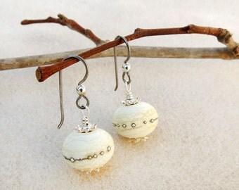 Creamy White Lampwork Bead Earrings, Sterling Silver, Niobium Ear Wires, Hypoallergenic, Dark Silver, Ivory, Sand, Handmade Drop Earrings