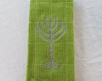 On Sale Olive Green Dish Towel with  Embroidered Menorah Great for Jewish New Year