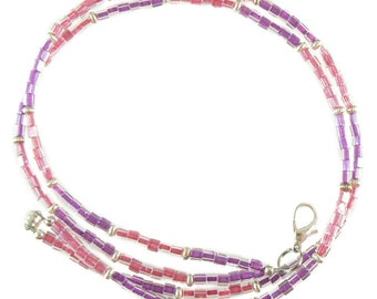 Pink & purple beaded break away lanyard, necklace, and more