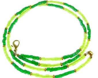 """OVERSTOCK SALE! Frosted light and dark green beaded break away lanyard, necklace, & more, gold. 17.75"""" long"""