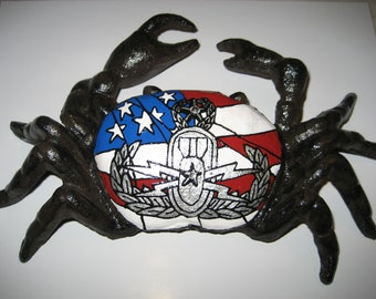 Painted Explosive ordnance disposal EOD Master Badge and US Flag on a cast iron CRAB -Ready to Ship