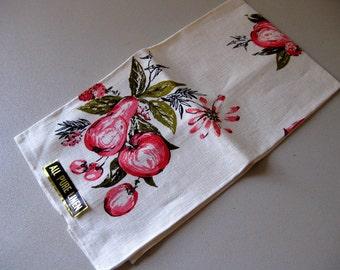 Vintage 1960s linen dish towel new old stock Kitchen tea towel