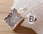 50% OFF Silver Grey Druzy Crystal and Monogrammed Letter Necklace - 925 Silver