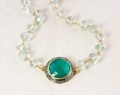 ON SALE Asymmetrical Green Onyx & Green Amethyst Necklace - Long Statement Necklace