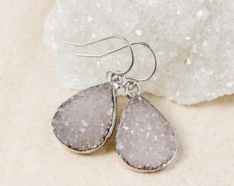 50% OFF Purple Agate Druzy Teardrop Earrings – Choose Your Druzy