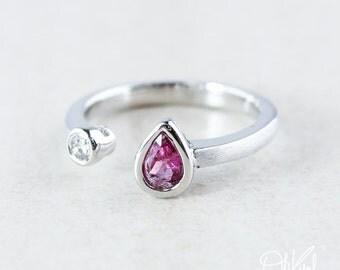 Silver Pink Tourmaline & Diamond Dual Ring - Brushed Finish