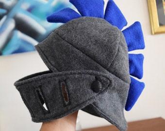 Warm fleece Hat looks like Roman Warrior helmet Infant Baby Size