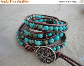 SALE Macavo Turquoise Beaded Natural Leather Wrap Bracelet