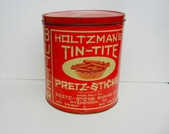 Vintage Pretzel Tin Holtzman's Tin-Tite Butter Pretz-Sticks