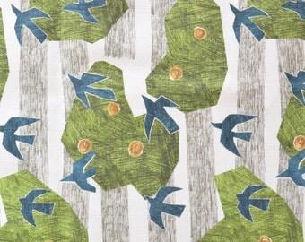 "Lullaby of Birdland - linen cotton canvas fabric -half yard 18"" ( 45 cm ) long"