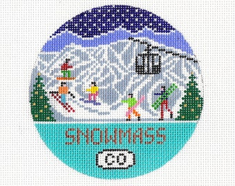 Snowmass Ski Resort Needlepoint Ornament