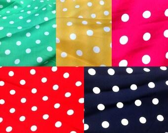 Quilt Fabric Craft Cotton Half Yard Scandinavian Big Polka Dot in Chic Red Pink Blue Green Yellow