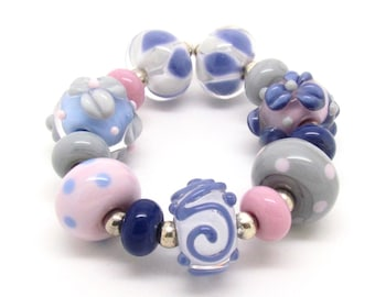 Lampwork Bead Set, Lampwork Beads, Glass Beads, UK, FHFteam, SRA