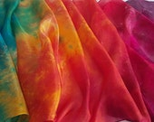 Hand Painted Silk Scarf in Vibrant Rainbow Colours