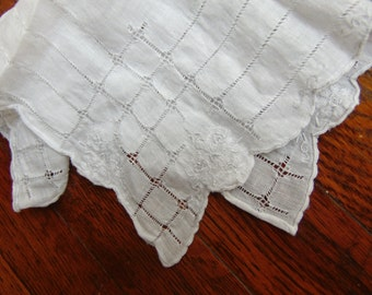 Vintage White Embroidered Handkerchief for the Bride, Groom Wedding Day
