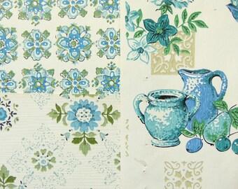 Vintage Wallpaper True Blue Kitchen Decor 3 Sheets 18 x 12, 1960s