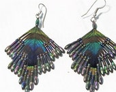 Peacock Feather and Beaded Pierced Earrings, Hand Crafted Peacock Feather Jewelry, 1970's Real Feather Jewelry, Retro Jewel Tone Feathers