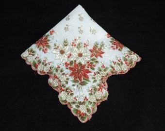 50s christmas handkerchief poinsettia + holly scalloped cotton hankie