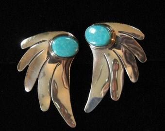 Sterling Turquoise Allen Paula Boyd Earrings