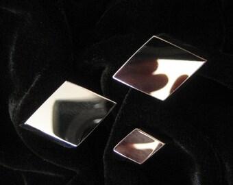 Shields Fifth Avenue Diamond Shape Cuff Link Tie Tack Set