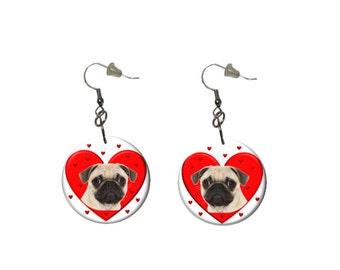 Pug Love Earrings Pug with Red Hearts Earrings