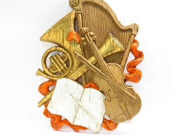Homco Symphony Plaque Vintage 1970s Kitschy Musical Wall Hanging Violin Harp French Horn Clarinet