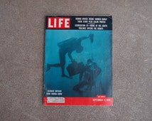 Vintage Life Magazine Deep Ocean Sea Divers Segregation South September 17 1956 Advertising Ads Suez Canal Athenian Square Thomas Wolfe