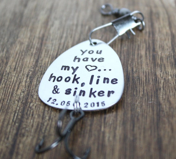 Fishing lure boyfriend gift personalized by sierrametaldesign for Fishing gifts for him