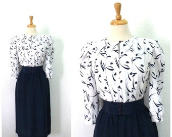 70s dress Navy and white Abstract print Shirt dress Button Up Party Dress