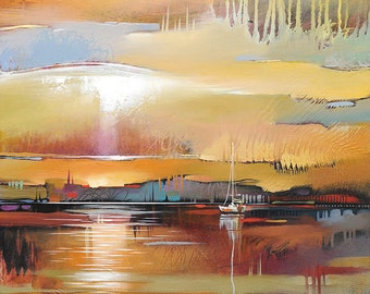 Abstract Landscape Art • Contemporary Landscape and Seascape Painting Reproduction • MILL CREEK SUNSET • Atmospheric Landscape Art