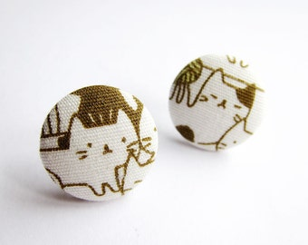 Button Earrings / Clip On Earrings / Stud Earrings - cat earrings on cream