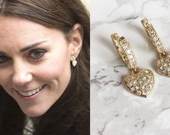 Kate Middleton Inspired Gold Pave Heart Hoop Earrings