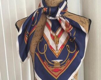 Vintage Alain Roure Paris designer silk scarf - Nautical