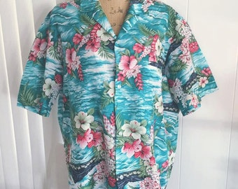 Men's Vintage Blue Hawaii Tiki Shirt -- Size L - XL - 1960's 70's era
